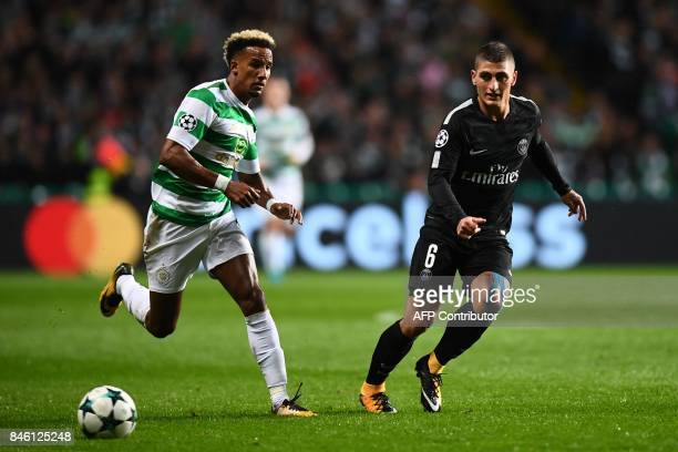 Paris SaintGermain's Italian midfielder Marco Verratti vies with Celtic's English midfielder Scott Sinclair during the UEFA Champions League Group B...