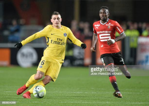 Paris SaintGermain's Italian midfielder Marco Verratti vies with Rennes' Congolese forward Firmin Mubele during the French L1 football match between...