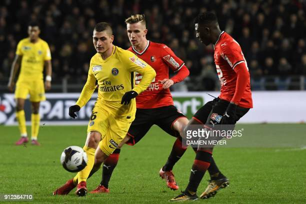 Paris SaintGermain's Italian midfielder Marco Verratti vies with Rennes' French midfielder Benjamin Bourigeaud during the French League cup semi...