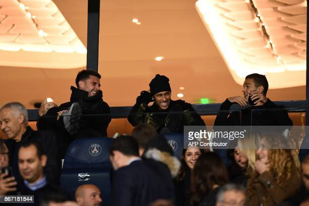 Paris SaintGermain's Italian midfielder Thiago Motta Paris SaintGermain's Brazilian forward Neymar onematch banned and Paris SaintGermain's French...
