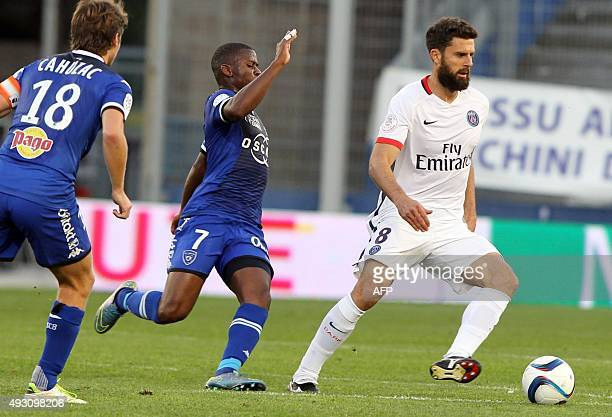 Paris SaintGermain's Italian midfielder Thiago Motta vies with Bastia's FrenchTogolese midfielder Floyd Ayite during the L1 football match Bastia...