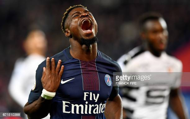TOPSHOT Paris SaintGermain's Ivorian defender Serge Aurier reacts during the French L1 football match between Paris SaintGermain and Rennes at the...