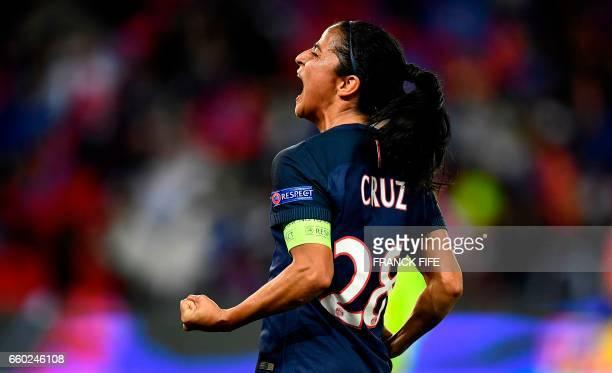 TOPSHOT Paris SaintGermain's midfielder Shirley Cruz celebrates after scoring during the UEFA Women's Champions League quarterfinal second leg...