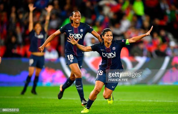 Paris SaintGermain's midfielder Shirley Cruz celebrates after scoring during the UEFA Women's Champions League quarterfinal second leg football match...