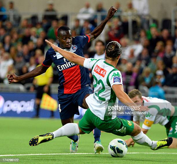 Paris SaintGermain's Mohamed Sissoko and Hammarby's Erik Figueroa vie for the ball during a friendly football match between PSG and Hammarby IF at...