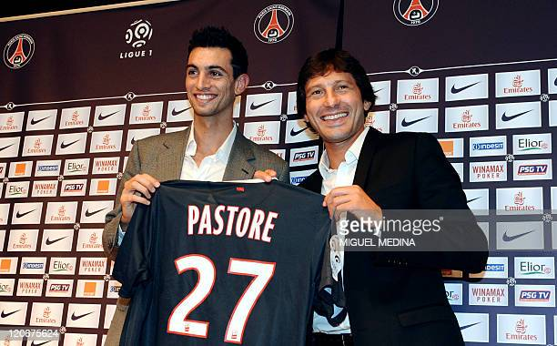 Paris Saint-Germain's newly recruited Argentinian midfielder Javier Matias Pastore and PSG's sporting director and former player, Brazilian Leonardo...