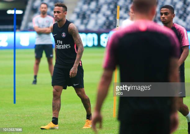 Paris SaintGermain's Neymar attends a training session at Shenzhen Longgang Sports Center one day before the French Super Cup or Trophee des...