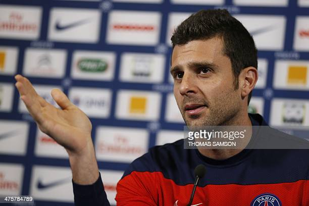 Paris SaintGermain's player Thiago Motta speaks during a press conference before a training session at the Camp des Loges in SaintGermainenLaye west...
