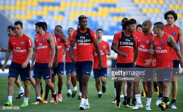 Paris SaintGermain's players attend a training session at the Grand Stade in Tangiers on July 28 2017 on the eve of the French Trophy of Champions...