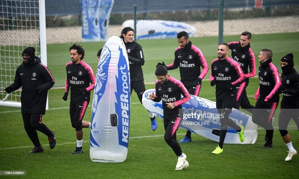 Paris Saint-Germain's players attend a training session at ...
