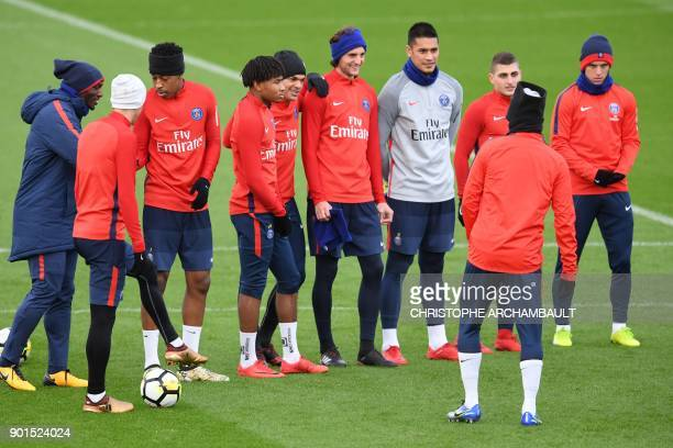 Paris SaintGermain's players attend a training session of French L1 football club Paris SaintGermain in SaintGermainenLaye west of Paris on January 5...