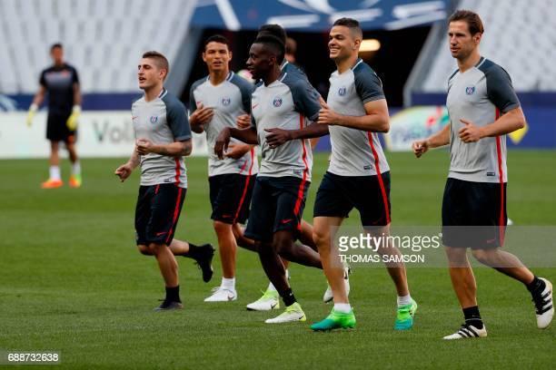 Paris SaintGermain's players Italian midfielder Marco Verratti Brazilian defender Thiago Silva French midfielder Blaise Matuidi French midfielder...