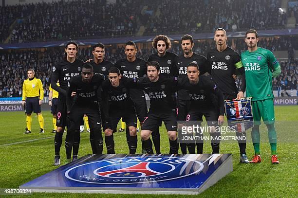 Paris SaintGermain's players pose for the team photo prior to the UEFA Champions League Group A secondleg football match Malmo FF vs Paris...