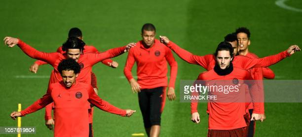 Paris SaintGermain's players take part in a training session in SaintGermainenLaye western Paris on November 5 on the eve of the team's Champions'...