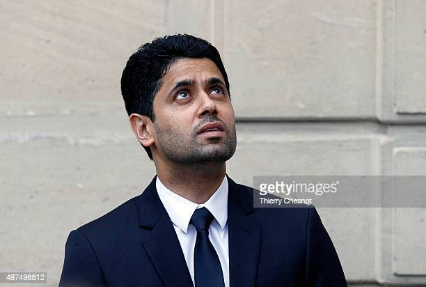 Paris SaintGermain's President Nasser AlKhelaifi waits prior to a meeting at the Elysee Presidential Palace on November 17 2015 in Paris France...