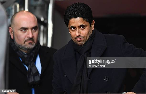 Paris SaintGermain's Qatari President Nasser AlKhelaifi arrives to attend the French L1 football match between Paris SaintGermain and Nice at the...