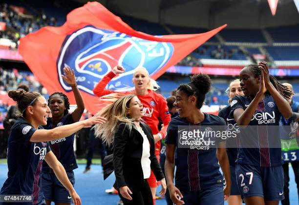 Paris SaintGermain's Spain midfielder Veronica Boquette Paris SaintGermain's French defender Laure Boulleau Paris SaintGermain's Canadian midfielder...