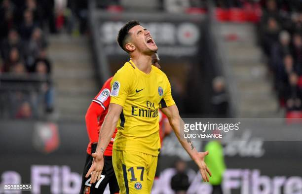 Paris SaintGermain's Spanish defender Yuri Berchiche gestures during the French L1 football match between Rennes and Paris Saint Germain on December...