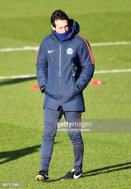 Paris SaintGermain's Spanish head coach Unai Emery leads his team's training session at the club's training ground in SaintGermainenLaye on January...