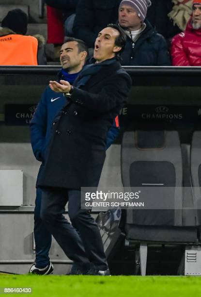 Paris SaintGermain's Spanish head coach Unai Emery reacts during the UEFA Champions League football match between Paris SaintGermain and Bayern...