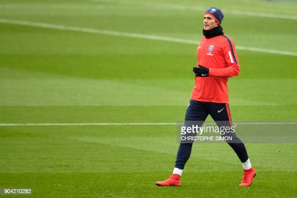 Paris SaintGermain's Spanish head coach Unai Emery takes part in a training session on January 12 2018 at the Camp des Loges in SaintGermainenLaye...