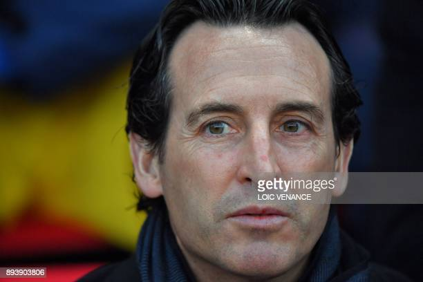 Paris SaintGermain's Spanish headcoach Unai Emery during the French L1 football match between Rennes and Paris Saint Germain on December 16 at the...
