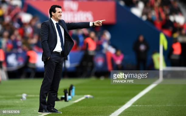 Paris SaintGermain's Spanish headcoach Unai Emery gestures as he shouts instructions to his players from the touchline during the French Ligue 1...