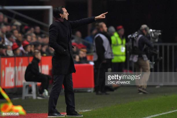 Paris SaintGermain's Spanish headcoach Unai Emery gestures during the French L1 football match between Rennes and Paris Saint Germain on December 16...