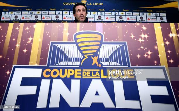 Paris SaintGermain's Spanish headcoach Unai Emery gives a press conference at the Matmut Atlantique Stadium in Bordeaux southwestern France on March...