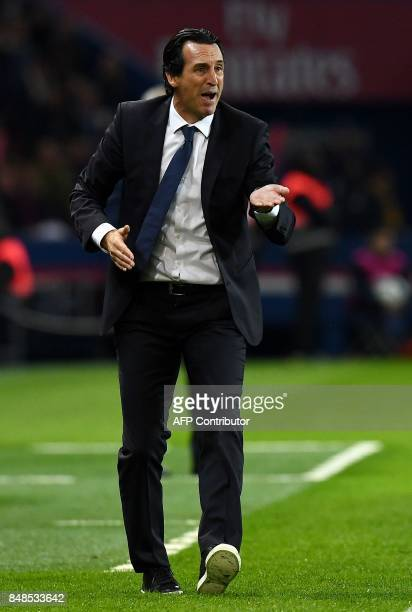 Paris SaintGermain's Spanish headcoach Unai Emery reacts during the French L1 football match between Paris SaintGermain and Olympique Lyonnais at the...