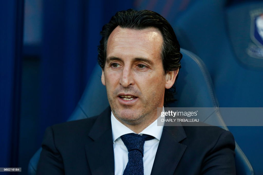 Paris Saint-Germain's Spanish headcoach Unai Emery reacts during the French L1 football match between Caen (SMC) and Paris (PSG) on May 19, 2018, at the Michel d'Ornano stadium, in Caen, northwestern France.