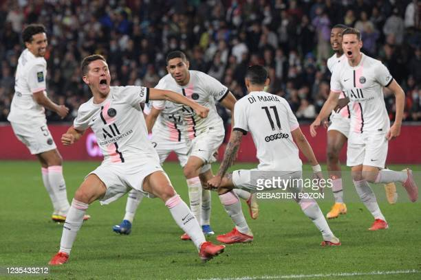Paris Saint-Germain's Spanish midfielder Ander Herrera celebrates after his team's second goal the French L1 football match between FC Metz and Paris...