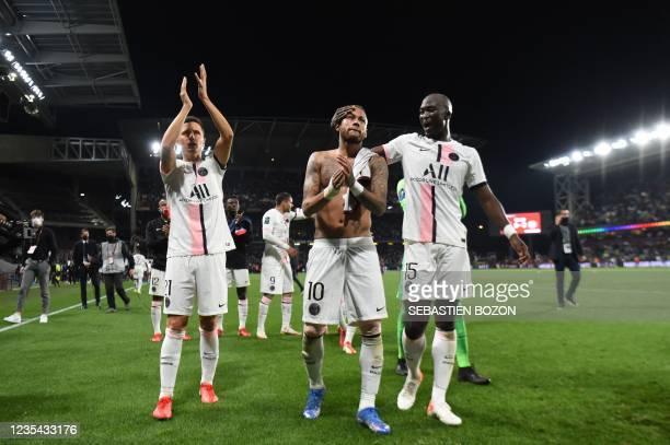 Paris Saint-Germain's Spanish midfielder Ander Herrera, Paris Saint-Germain's Brazilian forward Neymar and Paris Saint-Germain's Portuguese...