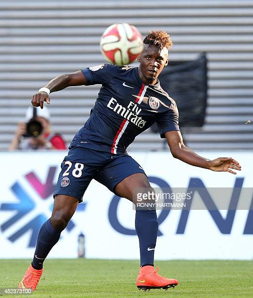 Paris SaintGermain's striker JeanChristophe Bahebeck controls the ball during a friendly football match between German second division team RB...