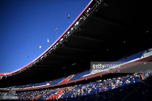 Paris Saint-Germain's supporters are pictured during the friendly football match between Paris Saint-Germain and Glasgow Celtic FC at the Parc des...