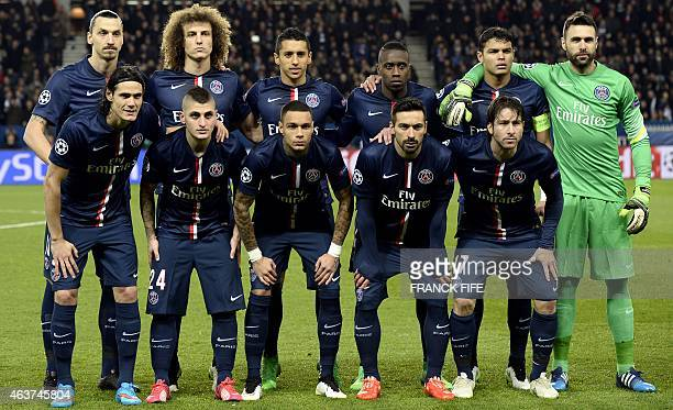 Paris SaintGermain's Swedish forward Zlatan Ibrahimovic Brazilian defender David Luiz Brazilian defender Marquinhos French midfielder Blaise Matuidi...