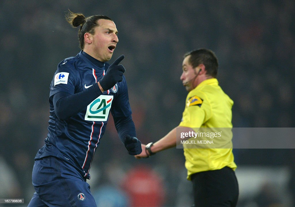 Paris Saint-Germain's Swedish forward Zlatan Ibrahimovic celebrates after scoring a golal during the French Cup football match between Paris Saint-Germain (PSG) vs Olympique de Marseille (OM) on February 27, 2013 at the Parc-des-Princes stadium in Paris.