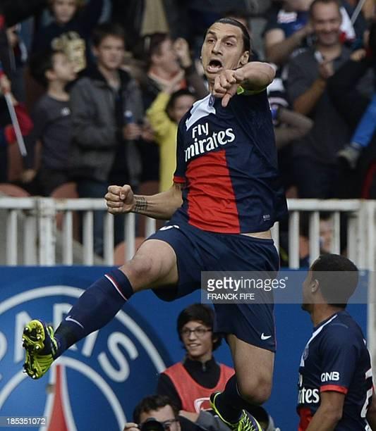 Paris SaintGermain's Swedish forward Zlatan Ibrahimovic celebrates after scoring a goal during the French L1 football match Paris Saint Germain...