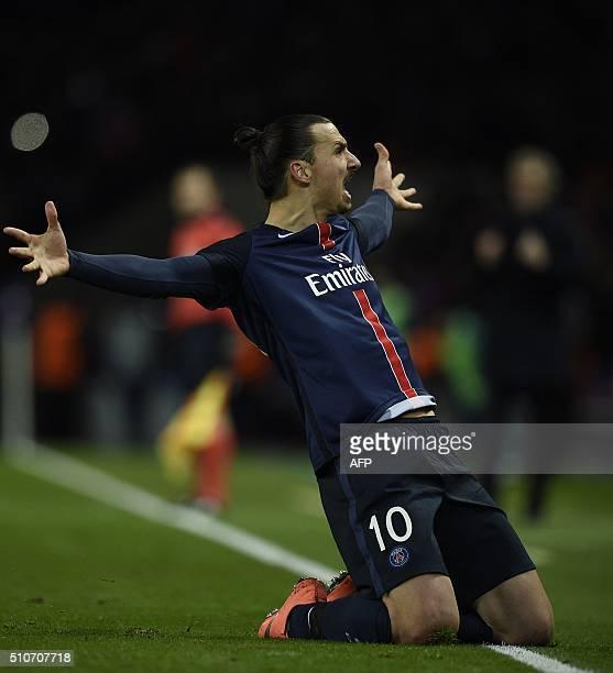 Paris SaintGermain's Swedish forward Zlatan Ibrahimovic celebrates after scoring a goal during the Champions League round of 16 first leg football...