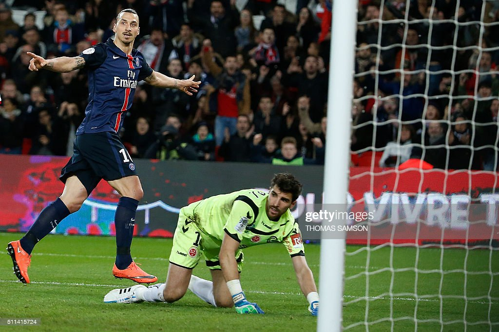 Paris Saint-Germain's Swedish forward Zlatan Ibrahimovic (L) celebrates after scoring a goal during the French L1 football match between Paris Saint-Germain (PSG) and Reims at the Parc des Princes stadium in Paris on February 20, 2016.
