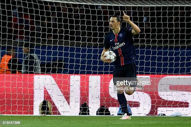 Paris SaintGermain's Swedish forward Zlatan Ibrahimovic celebrates after scoring a goal during the UEFA Champions League quarter final football match...
