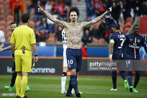 Paris Saint-Germain's Swedish forward Zlatan Ibrahimovic celebrates after scoring during the French L1 football match Paris Saint-Germain vs Caen at...