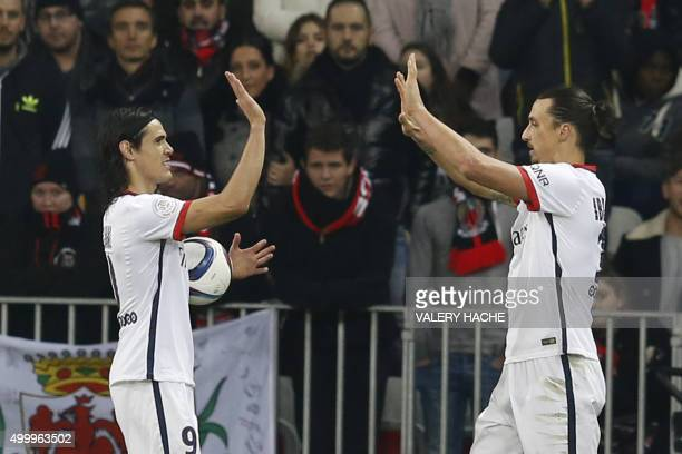 Paris SaintGermain's Swedish forward Zlatan Ibrahimovic celebrates with Paris SaintGermain's Uruguayan forward Edinson Cavani after scoring a goal...