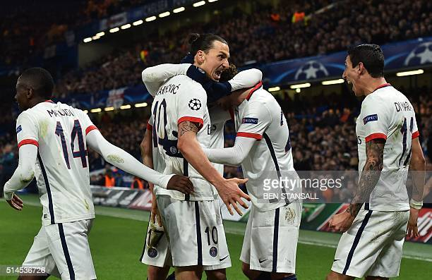 Paris SaintGermain's Swedish forward Zlatan Ibrahimovic celebrates scoring his team's second goal during the UEFA Champions League round of 16 second...