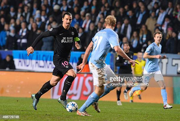 Paris SaintGermain`s Swedish forward Zlatan Ibrahimovic controls the ball during the UEFA Champions League Group A secondleg football match Malmo FF...