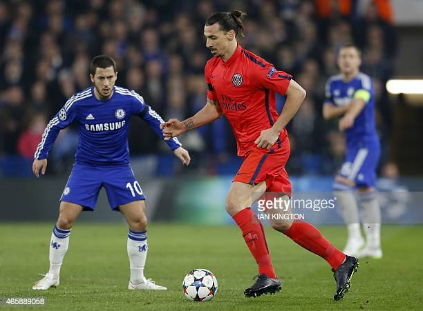 Paris SaintGermain's Swedish forward Zlatan Ibrahimovic in action during the UEFA Champions League round of 16 second leg football match between...