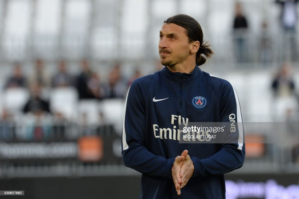 Paris Saint-Germain's Swedish forward Zlatan Ibrahimovic is pictured ahead of the French L1 football match between Bordeaux and Paris (PSG) on May 11, 2016 at the Matmut Atlantique stadium in Bordeaux, southwestern France.