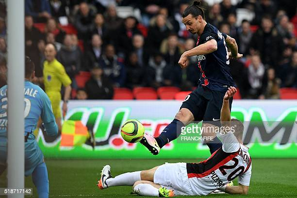 Paris SaintGermain's Swedish forward Zlatan Ibrahimovic kicks the ball to score during the French L1 football match between Paris SaintGermain and...