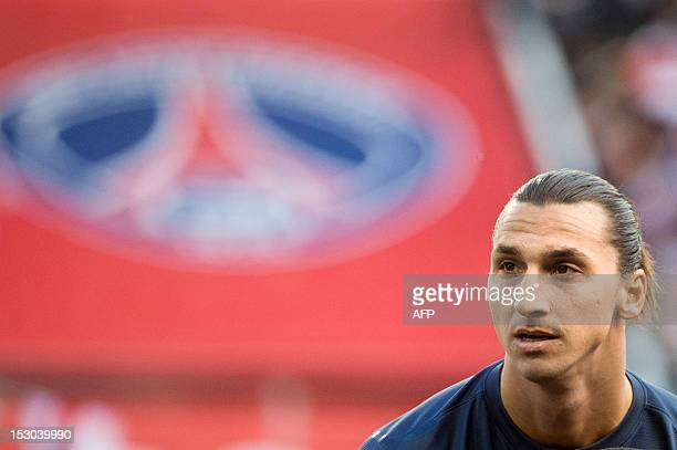 Paris SaintGermain's Swedish forward Zlatan Ibrahimovic looks on prior to the French L1 football match Paris vs Sochaux on September 29 2012 at the...