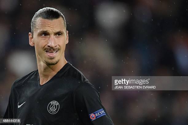 Paris SaintGermain's Swedish forward Zlatan Ibrahimovic looks on during the UEFA Champions League group A football match between PSG and Malmo on...